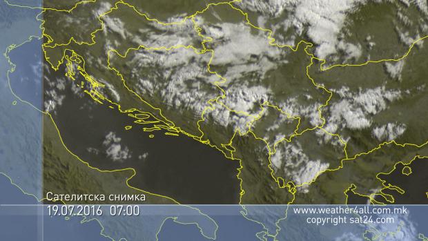 Времето денес  09 07 2016    Претежно сончево со локална облачност